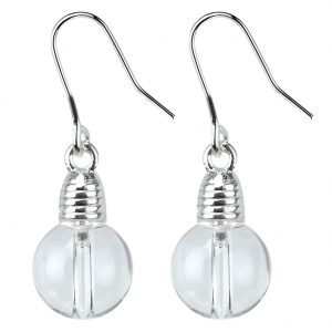 Drop Earring Light Bulb Made With Crystal Glass & Tin Alloy by JOE COOL
