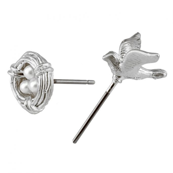 Stud Earring Bird With Nest Made With Tin Alloy by JOE COOL