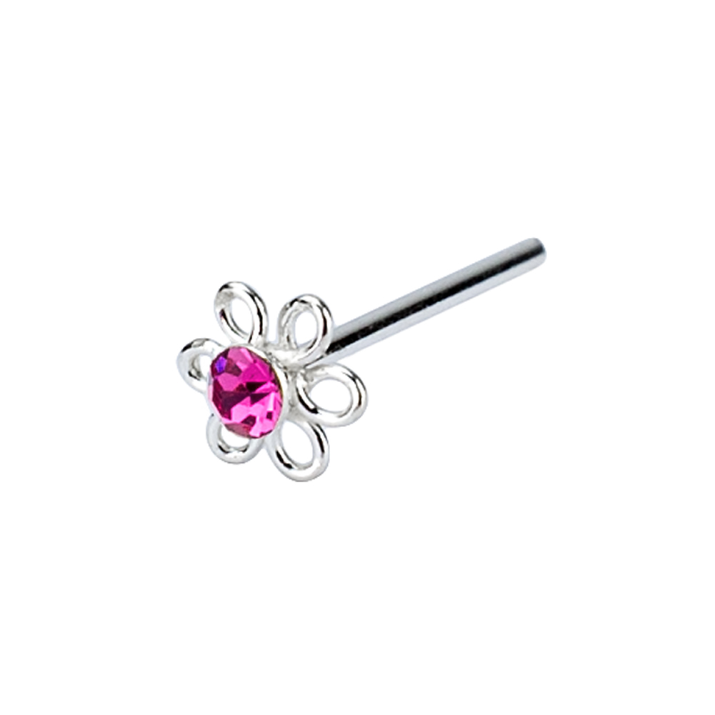 Nose Stud Single Crystal Flower Made With 925 Silver & Crystal Glass by JOE COOL