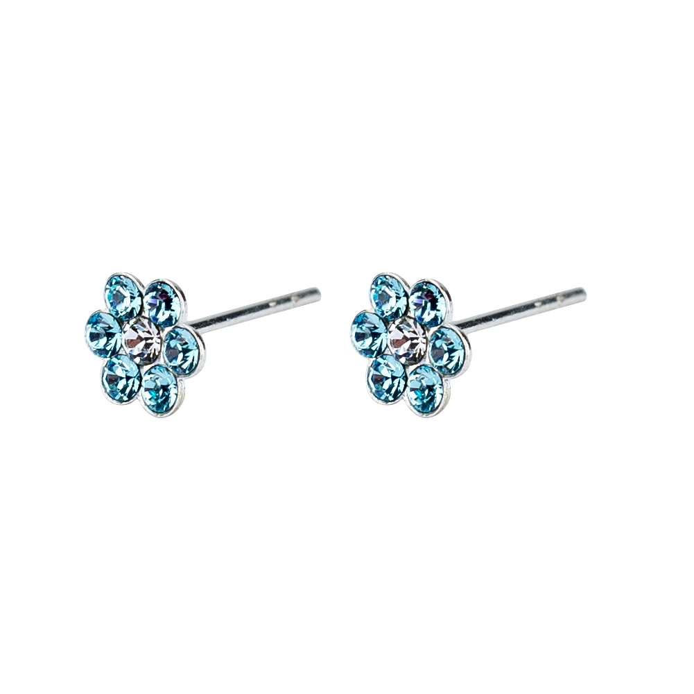 Stud Earring 7 Crystal Flower Made With 925 Silver & Crystal Glass by JOE COOL