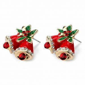 Stud Earring Bells Made With Crystal Glass & Enamel by JOE COOL