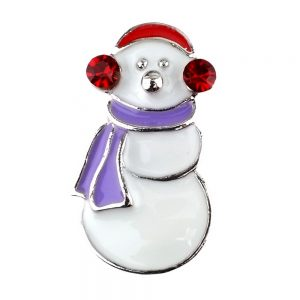 Clutch Pin Brooch Christmas Snowman Made With Crystal Glass & Enamel by JOE COOL