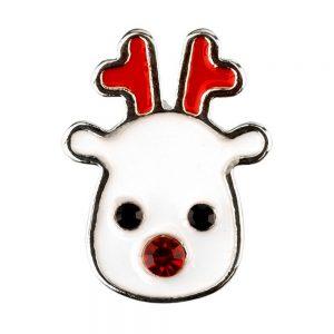 Clutch Pin Brooch Christmas Reindeer Made With Crystal Glass & Enamel by JOE COOL