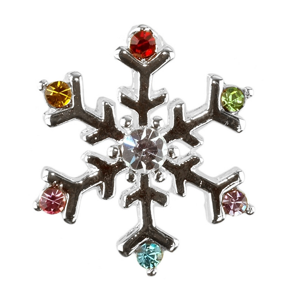 Clutch Pin Brooch Christmas Snowflake Made With Crystal Glass & Enamel by JOE COOL