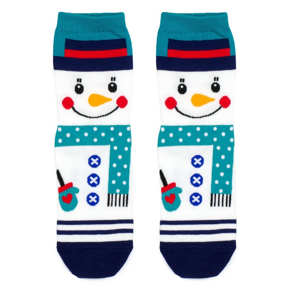 Socks Happy Snowman Made With Cotton & Spandex by JOE COOL