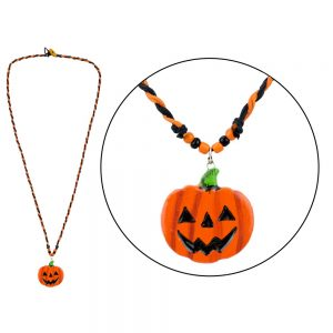 Necklace Pumpkin Made With Wood & Linen by JOE COOL