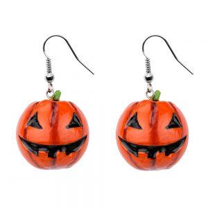 Drop Earring Pumpkin Two Bottom Row Teeth Made With Wood by JOE COOL