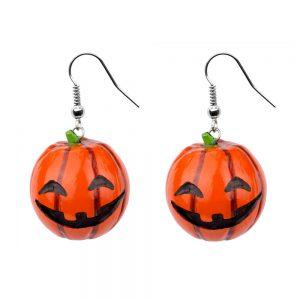 Drop Earring Pumpkin Made With Wood by JOE COOL