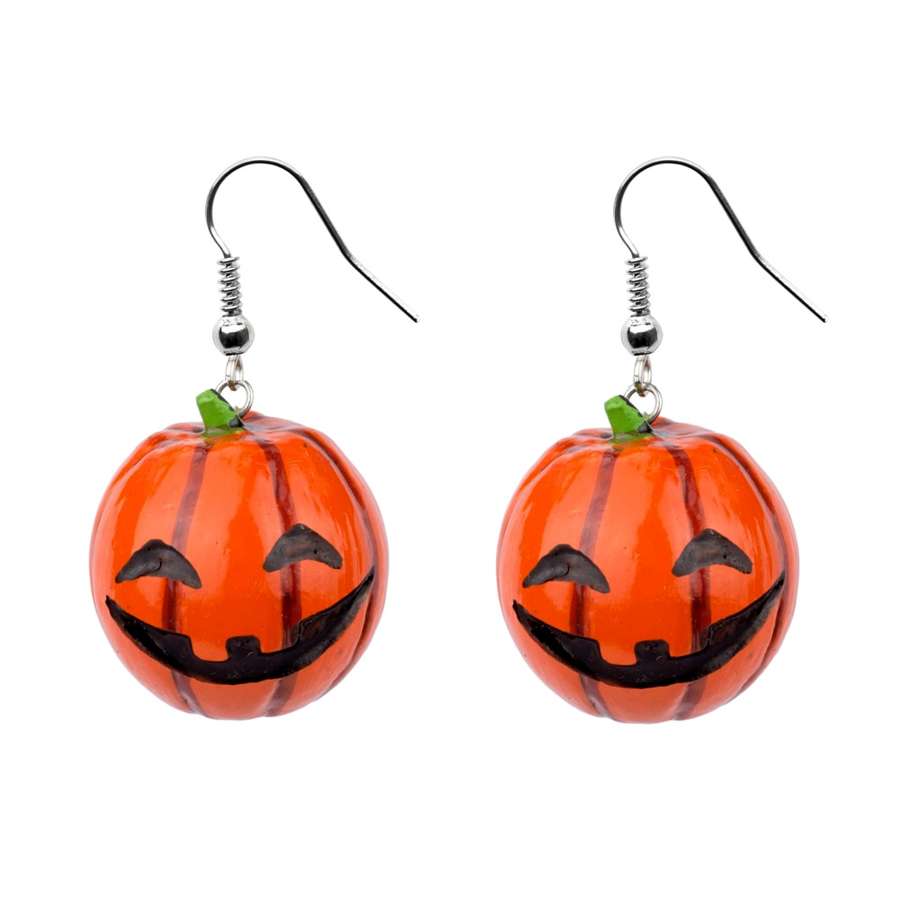 Drop Earring Pumpkin Made With Wood by JOE COOL