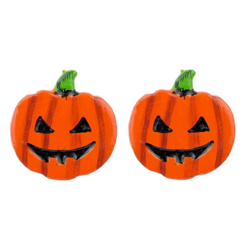 Stud Earring Pumpkin Two Bottom Row Teeth Made With Wood by JOE COOL