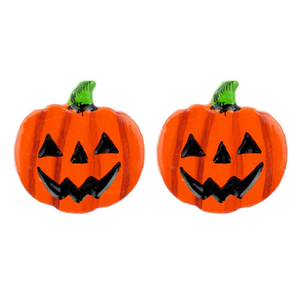 Stud Earring Pumpkin Made With Wood by JOE COOL