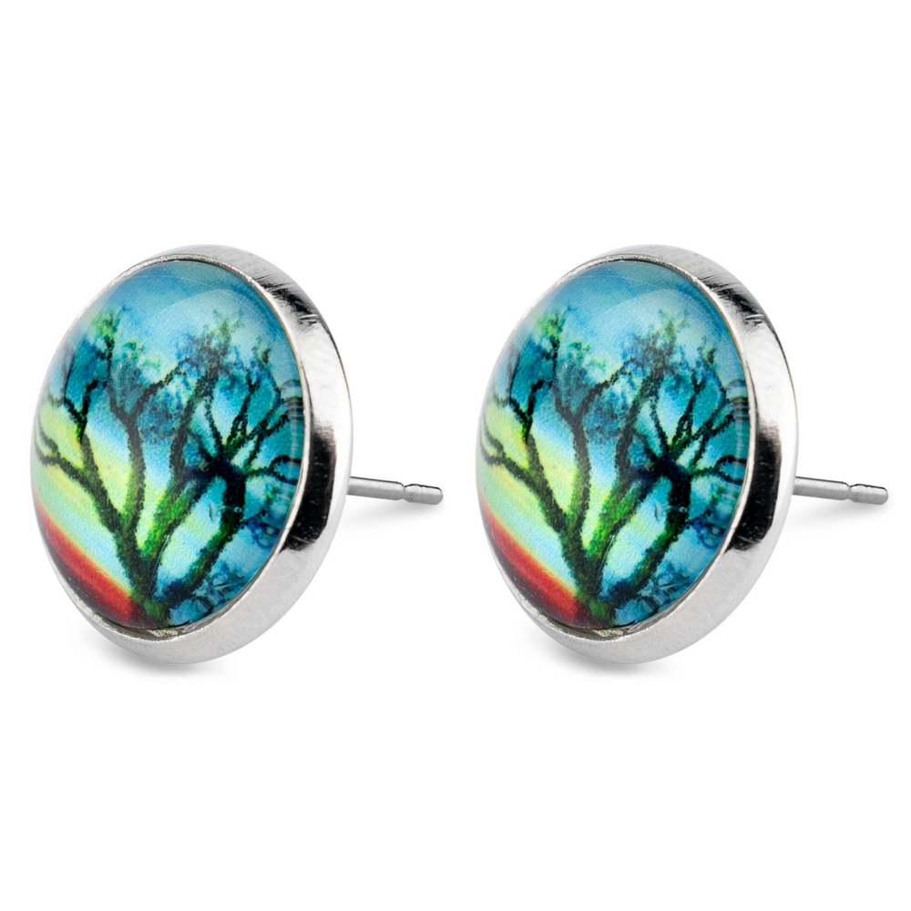 Stud Earring Tree Of Life Autumn Evening Made With Glass & Iron by JOE COOL