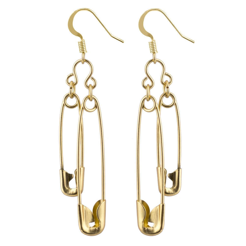 Drop Earring Double Safety Pin Matte Made With Tin Alloy by JOE COOL