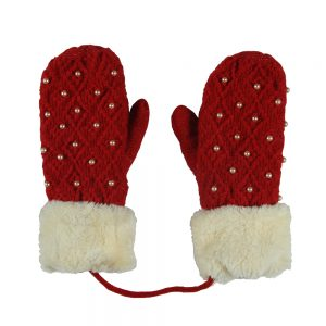 Gloves Mittens With Faux Fur Cuff Made With Acrylic by JOE COOL