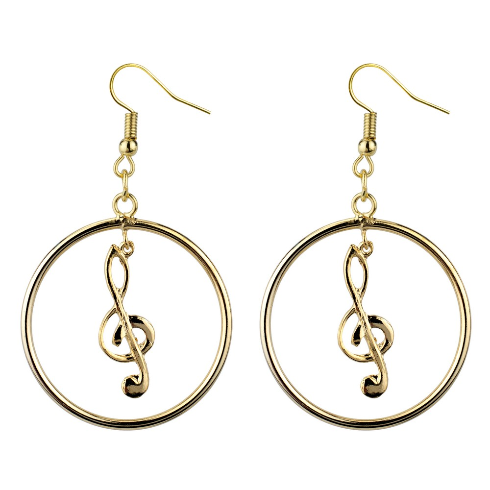 Drop Earring Musical Notes Cleff Made With Tin Alloy by JOE COOL