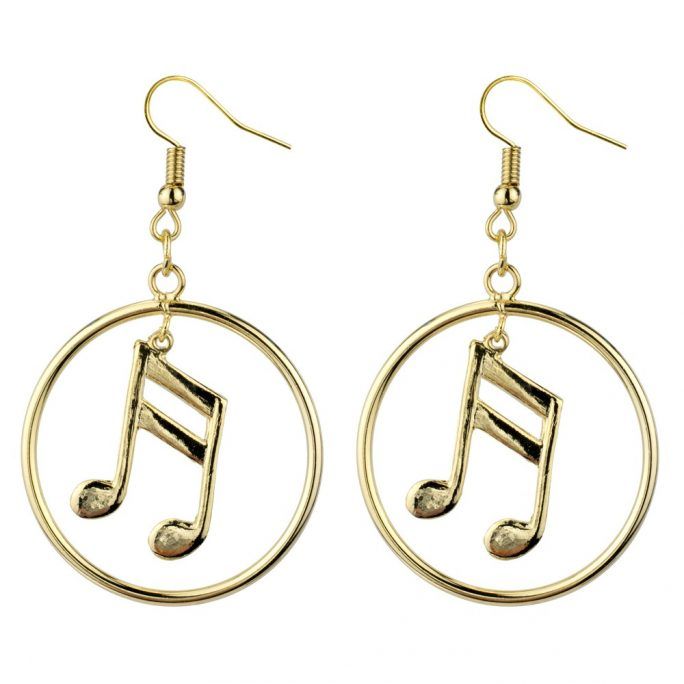 Drop Earring Musical Notes Pair Of Quavers Made With Tin Alloy by JOE COOL