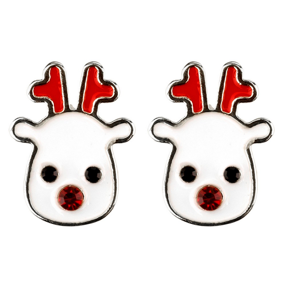 Stud Earring Christmas Large On Gift Card Made With Crystal Glass & Enamel by JOE COOL