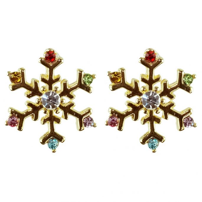 Stud Earring Snowflakes On Gift Card Made With Crystal Glass & Zinc Alloy by JOE COOL