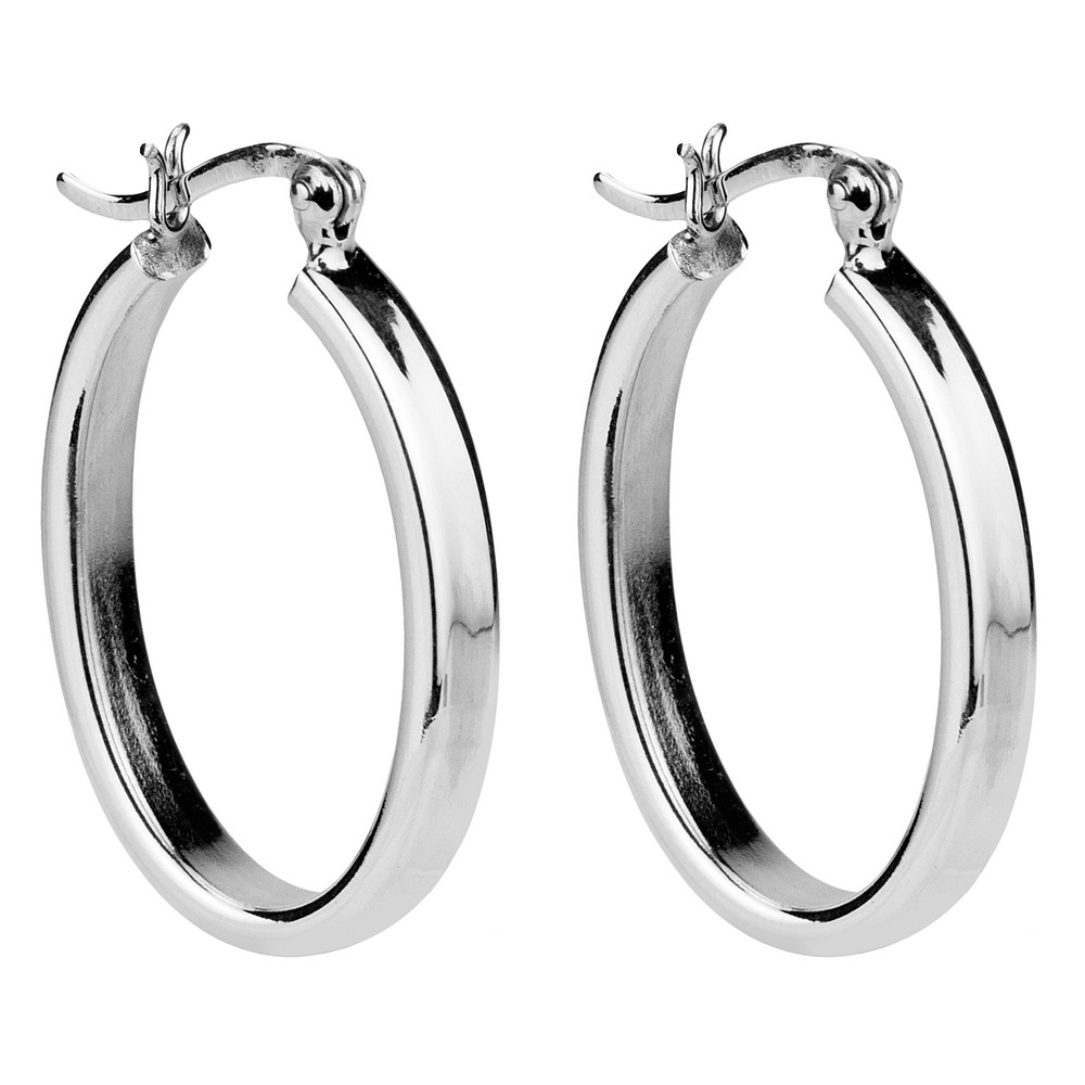 Hoop Earring Hinged Thick Oval Made With 925 Silver by JOE COOL
