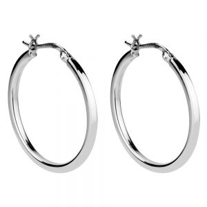 Hoop Earring Hinged Square Section Made With 925 Silver by JOE COOL