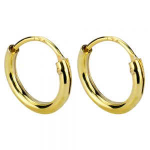 Hoop Earring Hinged 1.2mm Thick And Plated - 8mm Made With 925 Silver by JOE COOL
