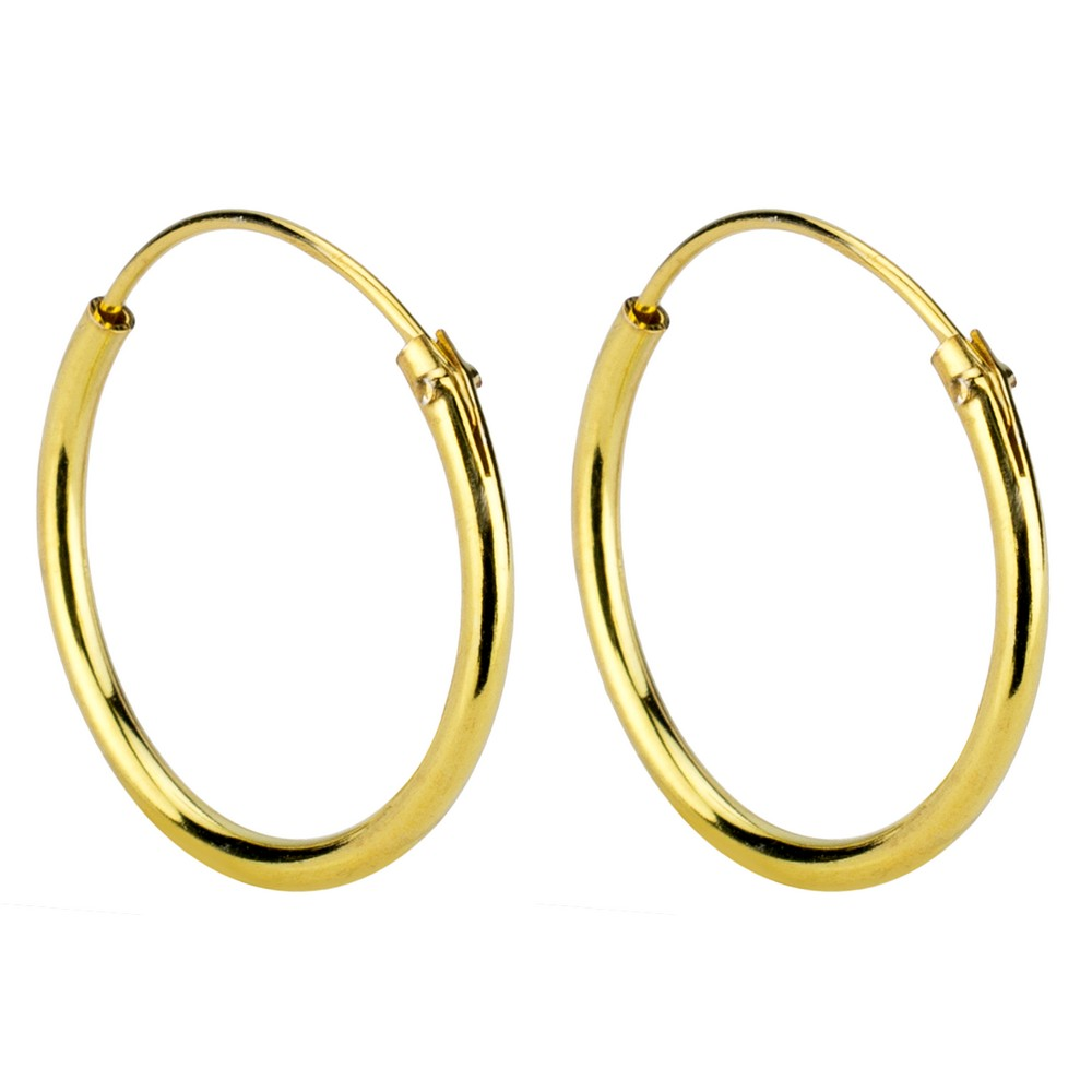 Hoop Earring Hinged 1.2mm Thick And Plated - 16mm Made With 925 Silver by JOE COOL