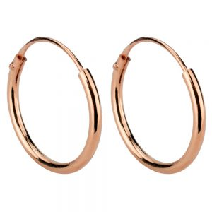 Hoop Earring Hinged 1.2mm Thick And Plated - 14mm Made With 925 Silver by JOE COOL