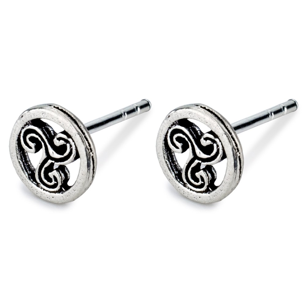 Stud Earring Celtic Symbols Triple Spiral Made With 925 Silver by JOE COOL