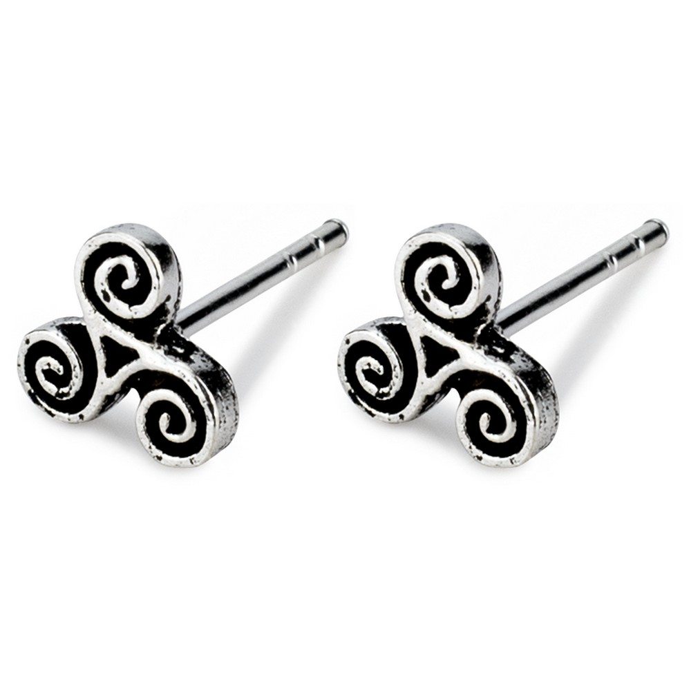Stud Earring Celtic Symbols Threefold Made With 925 Silver by JOE COOL