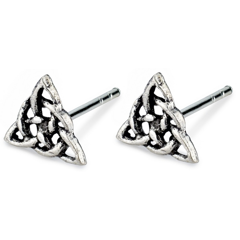 Stud Earring Celtic Symbols Triquetra Knot Made With 925 Silver by JOE COOL