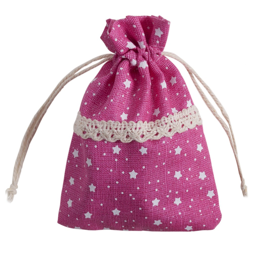 Coin Purse Star Print & Lace Drawstring Made With Polyester by JOE COOL