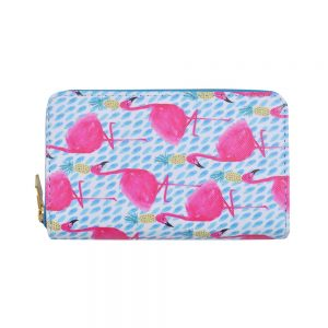 Zip Wallet Flamingo & Pineapple Made With Pu by JOE COOL