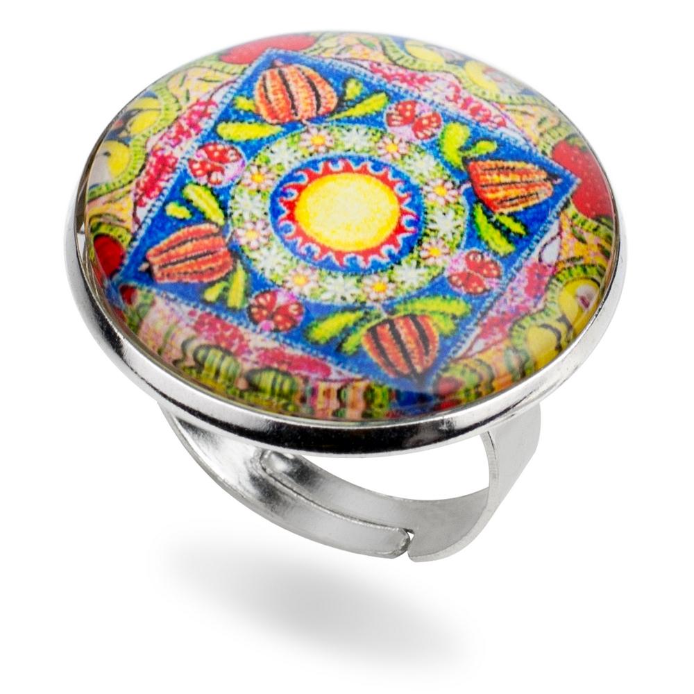 Ring Mandala Amulet Made With Iron & Glass by JOE COOL