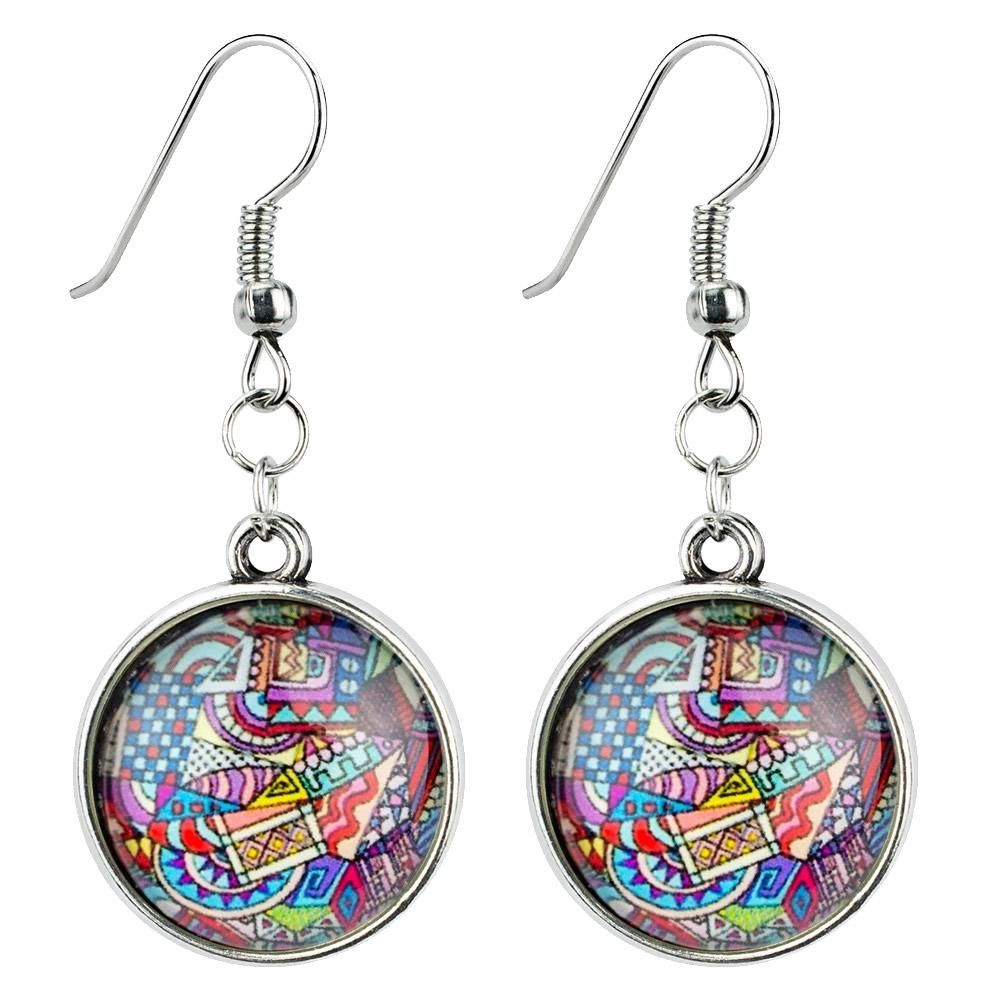 Drop Earring Mandala Amulet Made With Iron & Glass by JOE COOL