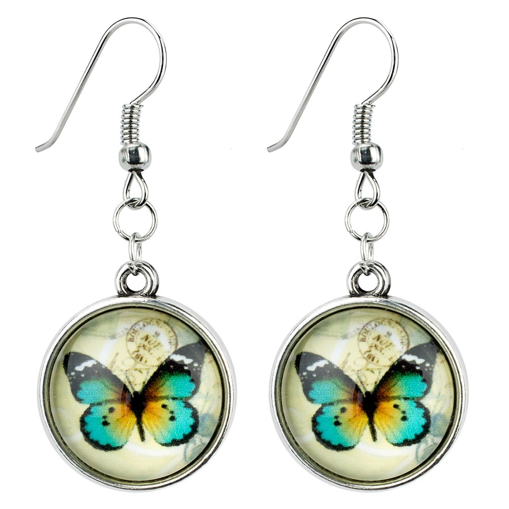 Drop Earring Illustrated Butterfly Made With Iron & Glass by JOE COOL