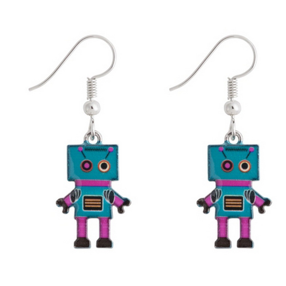Drop Earring Friendly Robot Made With Enamel & Tin Alloy by JOE COOL