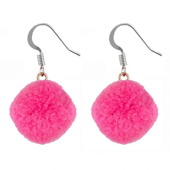 Drop Earring Pompom Made With Cotton by JOE COOL