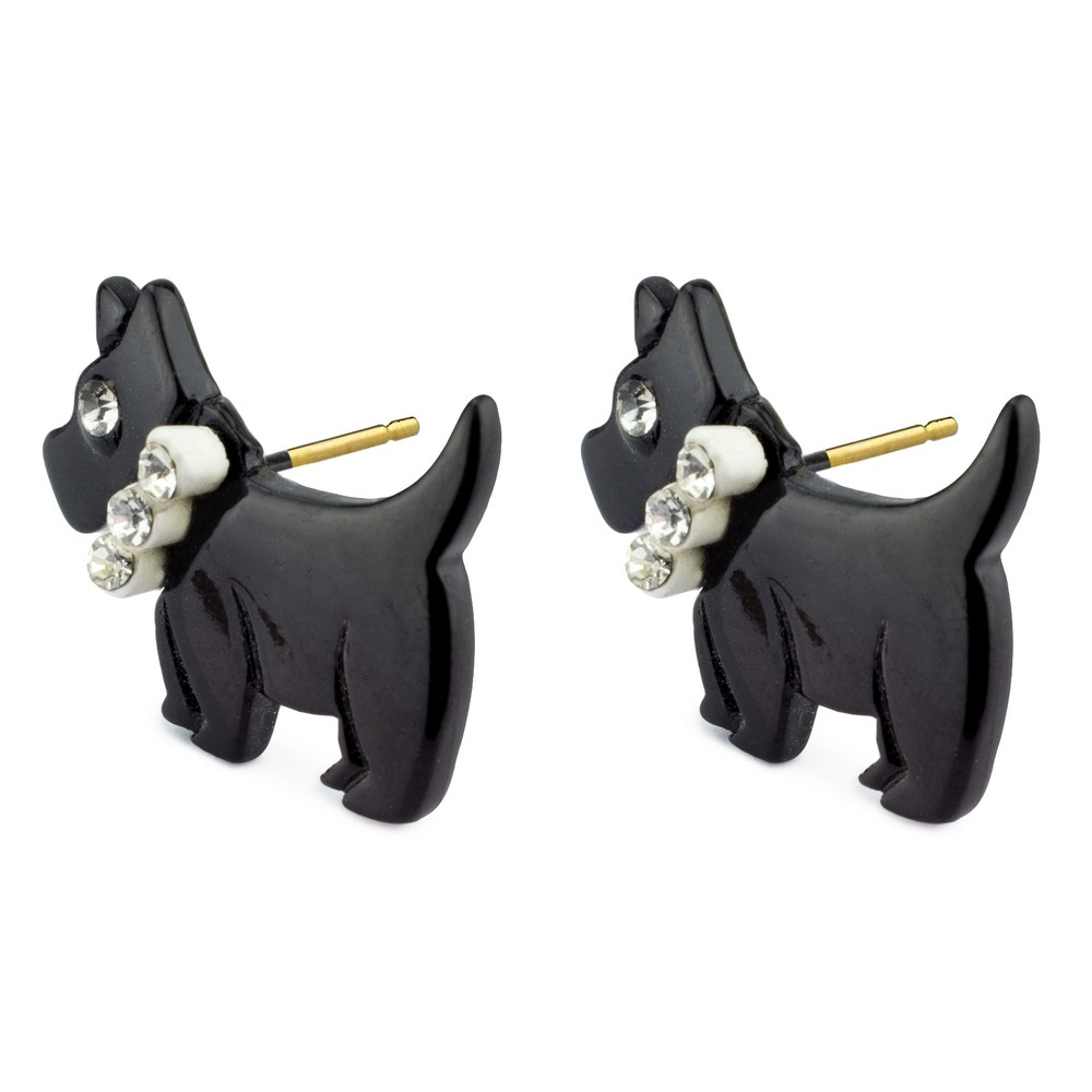 Stud Earring Scottie Dog Made With Tin Alloy & Crystal Glass by JOE COOL