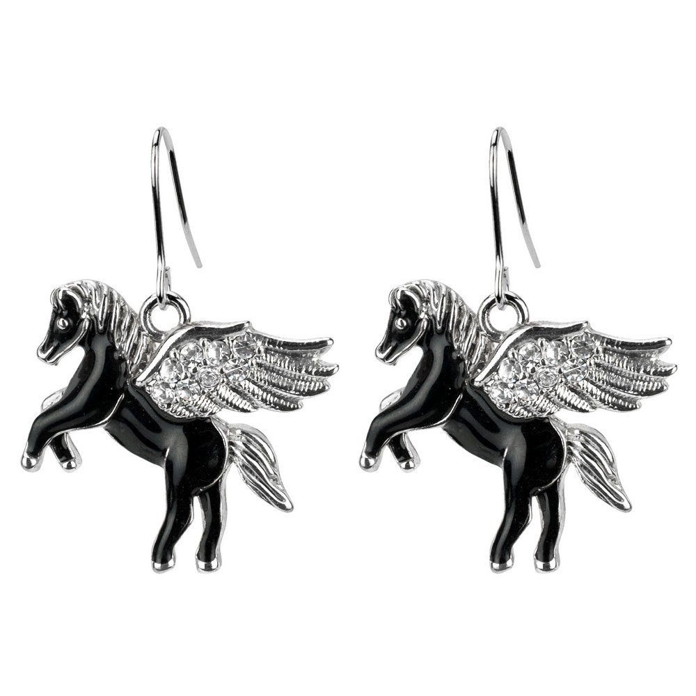 Drop Earring Pegasus Made With Enamel & Crystal Glass by JOE COOL