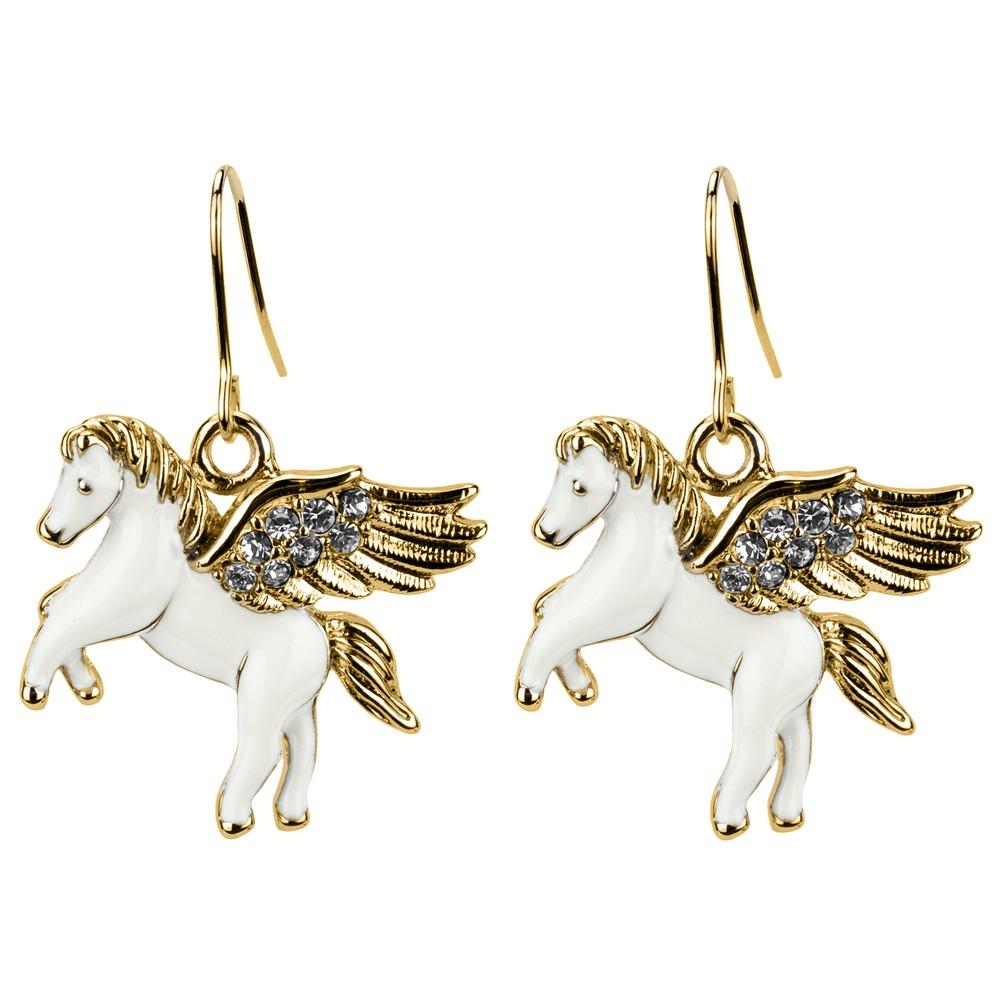Drop Earring Pegasus Made With Enamel & Crystal Glass by JOE COOL