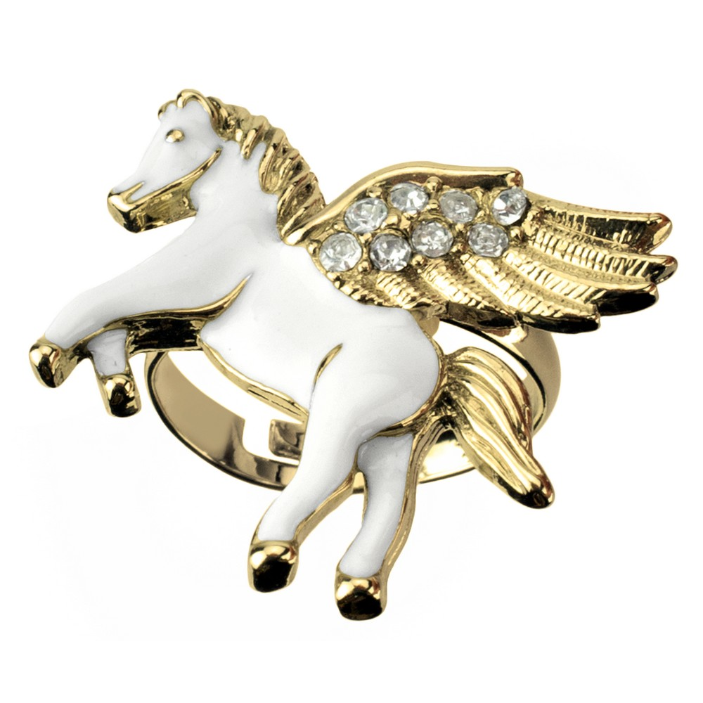 Ring Pegasus Made With Enamel & Crystal Glass by JOE COOL