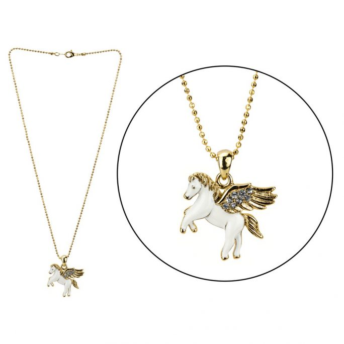 Necklace With A Pendant Pegasus Made With Enamel & Crystal Glass by JOE COOL