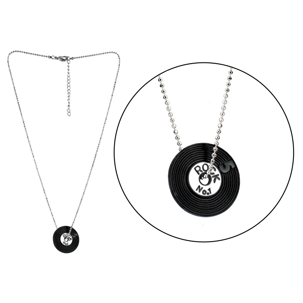 Necklace With A Pendant Record Made With Enamel by JOE COOL