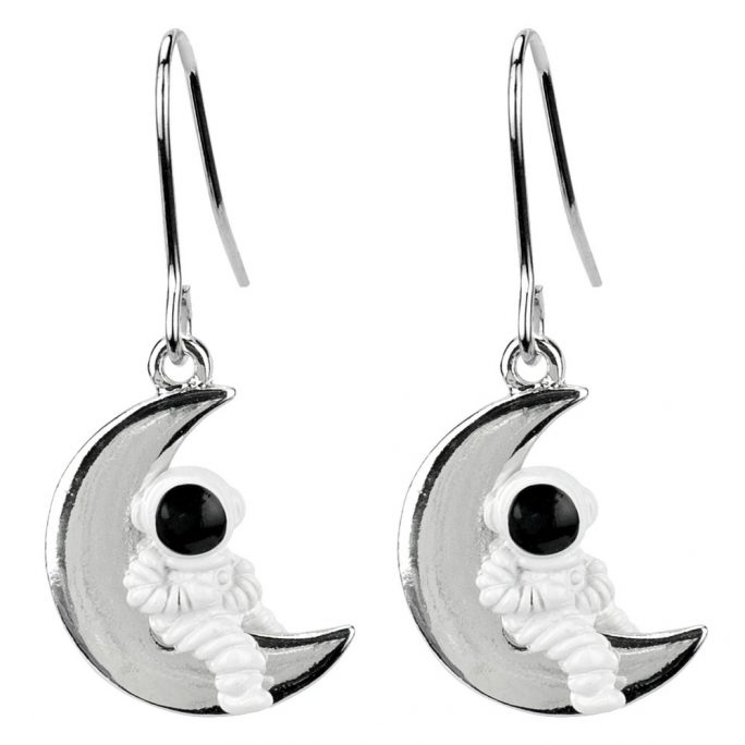 Drop Earring Man On The Moon Made With Tin Alloy by JOE COOL