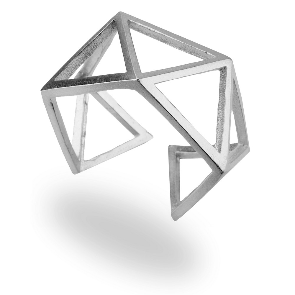 Ring 3d Abstract Geo Made With Tin Alloy by JOE COOL