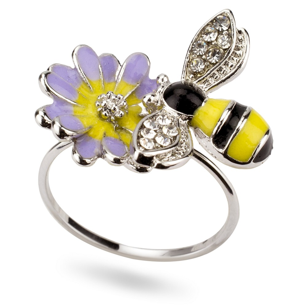 Ring Bee & Flower Made With Enamel & Crystal Glass by JOE COOL