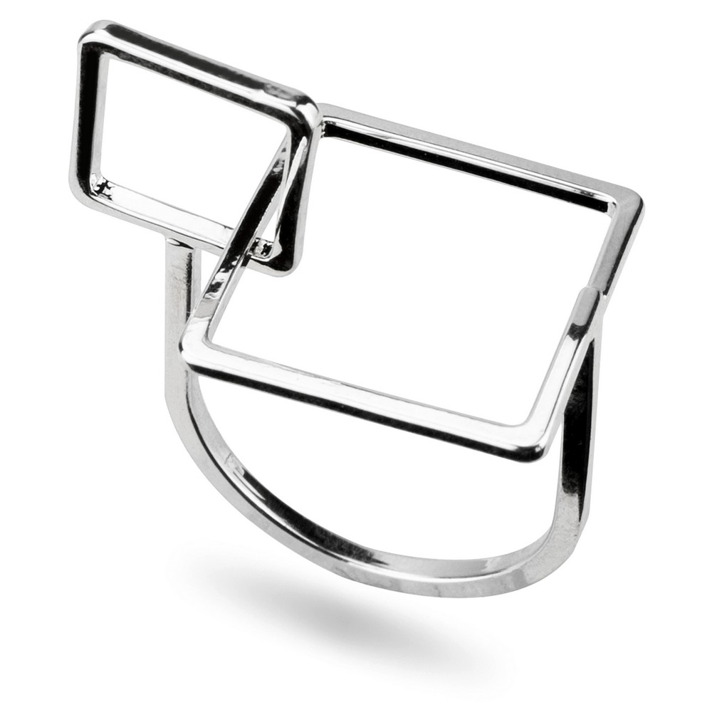 Ring Interlocked Squares Made With Tin Alloy by JOE COOL