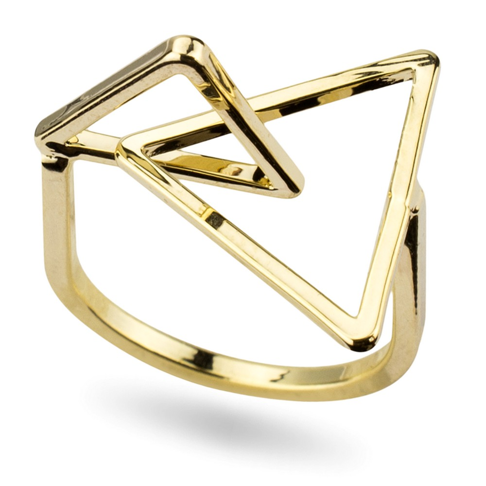 Ring Interlocked Triangles Made With Tin Alloy by JOE COOL