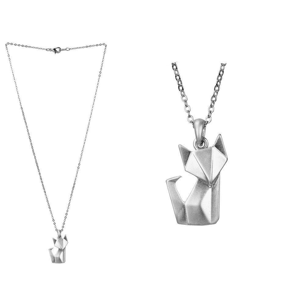 Necklace With A Pendant Origami Fox Made With Tin Alloy by JOE COOL