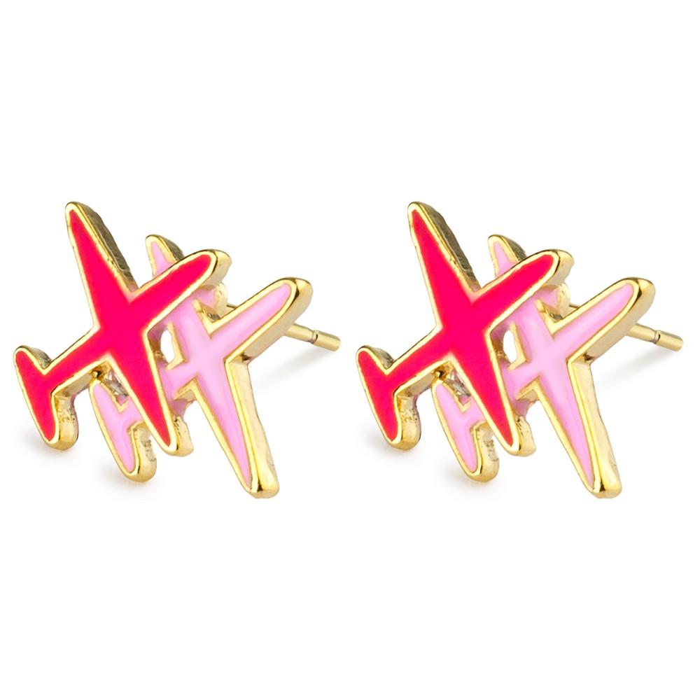 Stud Earring Aeroplane Made With Enamel & Tin Alloy by JOE COOL